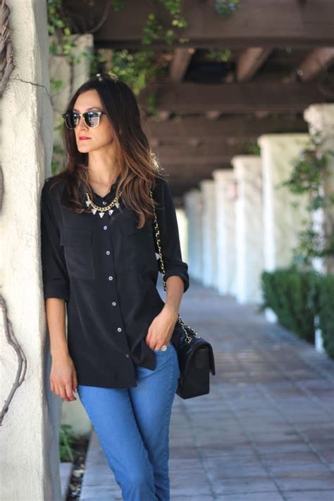 black button  oxford shirt jeans handbag jewelry