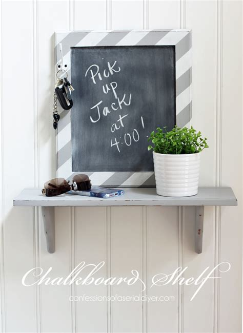 diy chalkboard shelf turn 5 in thrift store parts into functional d 233 cor