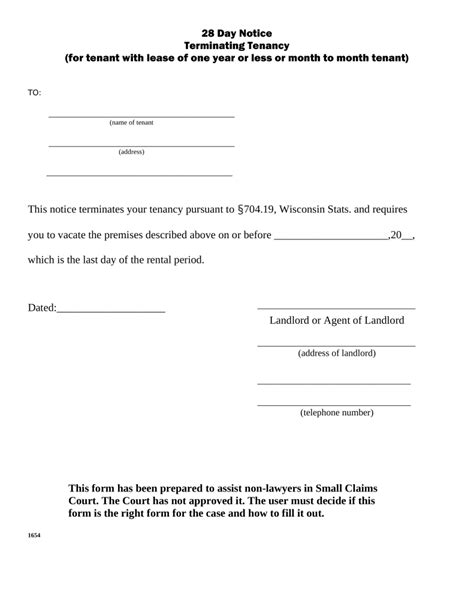 Lease Withdrawal Letter Wisconsin Lease Termination Letter Form 28 Day Notice Eforms Free Fillable Forms