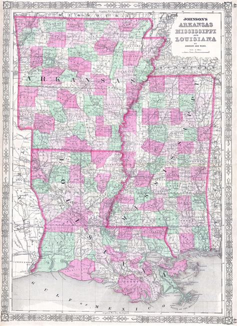 map louisiana and mississippi file 1864 johnson map of louisiana mississippi and