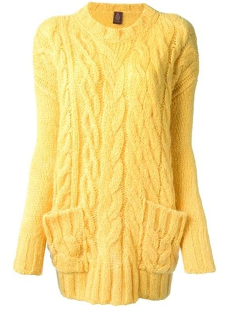 Sweater Yellow Cable Knit Wheretoget