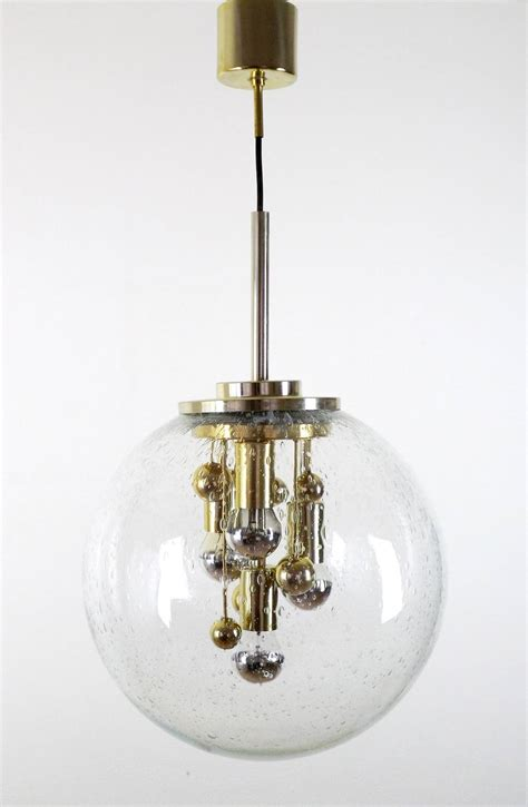 1970s doria glass and brass globe pendant chandelier for