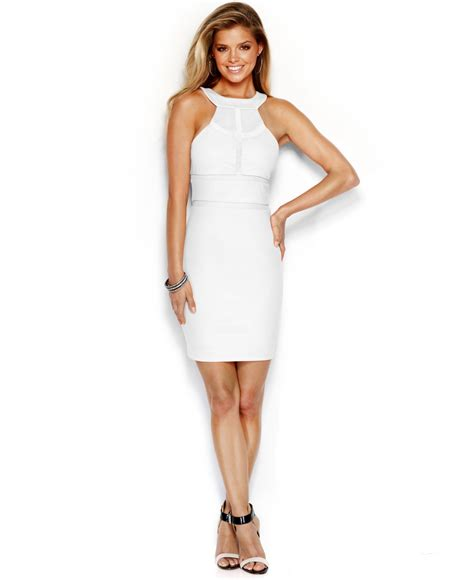 Guess Fashion Gold White lyst guess paneled sheath dress in white