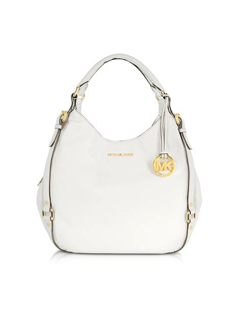 michael kors optic white bedford leather shoulder tote in white lyst