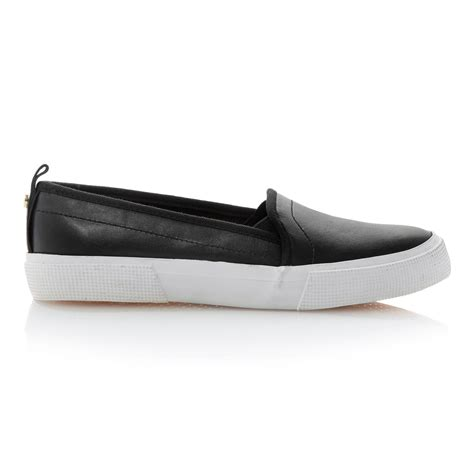 dune lamarr leather flat almond toe sports shoes in black