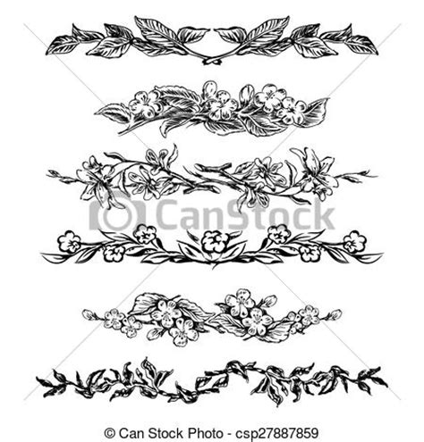 theme line vintage flower free clipart vector of vintage floral page dividers set