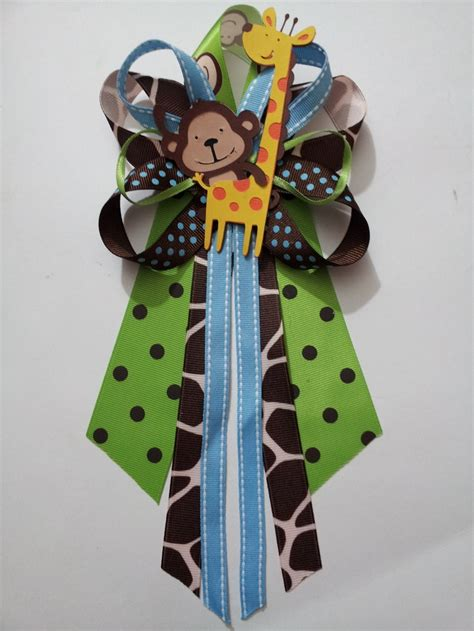 Corsage Baby Shower Safari by Blue Jungle Theme Monkey And Giraffe Baby Shower Pin