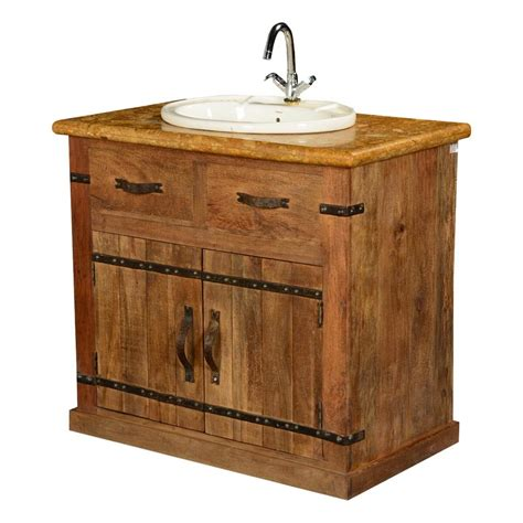 country farmhouse mango wood marble bathroom vanity cabinet