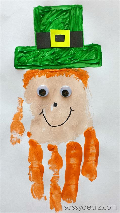 st s day and crafts leprechaun handprint craft for st patricks day idea crafty morning
