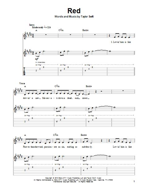 taylor swift delicate lyrics and chords red sheet music direct