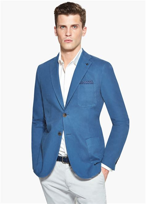 Blue Turqish Blazer T1310 1 lyst mango structured cotton blazer in blue for