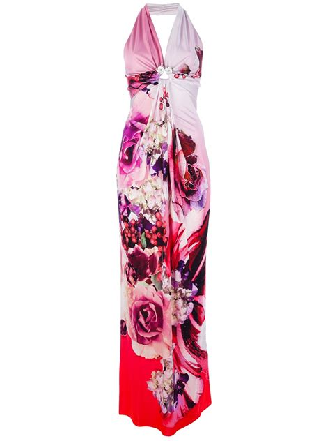 Kid Dress Cavally Pink roberto cavalli printed halterneck dress in pink lyst