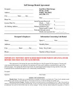 Self Storage Rental Agreement Template rental agreement form 11 free sle exle format