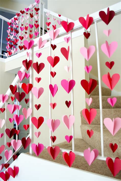 home decoration with paper 3 d heart paper garlands easy diy valentine decorations