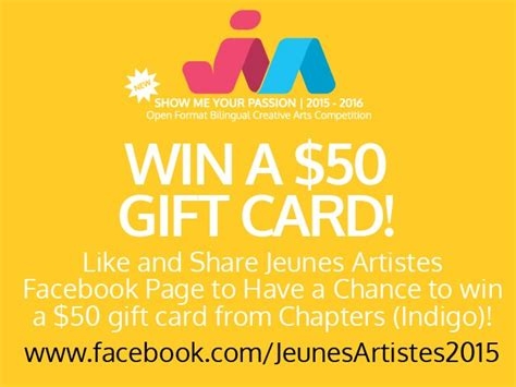 win a 50 gift card from chapters indigo like and