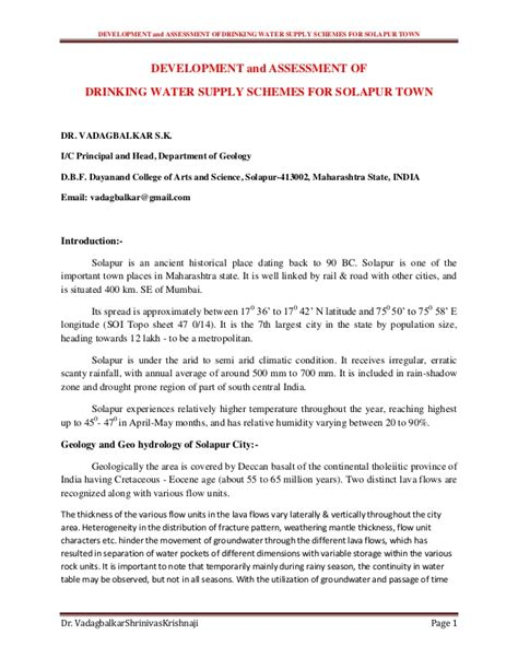 Complaint Letter For Poor Water Supply Development And Assessment Of Water Supply Schemes For Solap