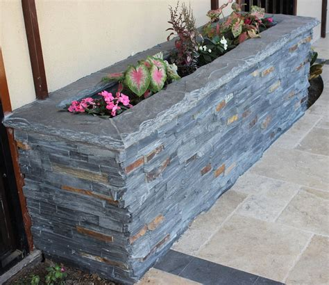 Stone Ledger Planter Box   Rustic   Exterior   Dallas   by