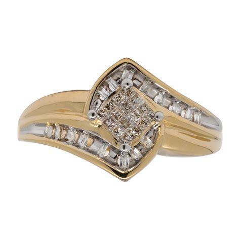 10k yellow gold engagement ring 1 4 cttw 25
