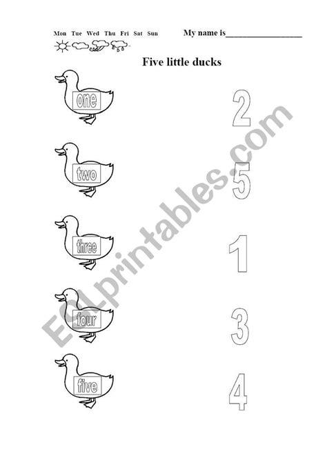 English worksheets: Five little ducks