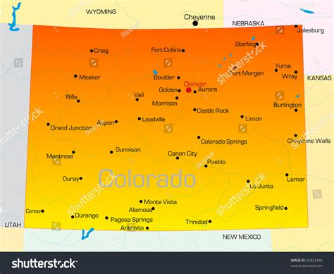 colorado state colors vector color map of colorado state usa 25832446