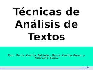 analisis de textos en 8479089946 calam 233 o t 233 cnicas de an 225 lisis de textos