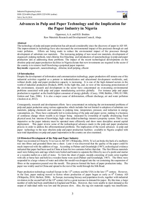 Advances In Science And Technology Essay by Advances In Pulp And Paper Technology And The Implication For The Pap
