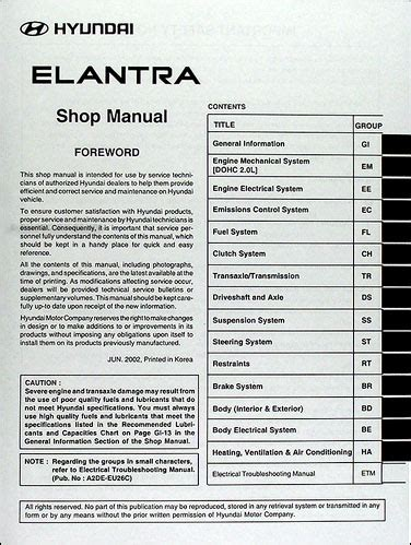 service manual pdf 2003 hyundai elantra engine repair manuals 2003 hyundai elantra repair