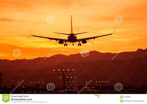 landing in las vegas commercial aviation and the of a tourist city shepperson series in nevada history books landing airplane at sunset stock photo image 51806387