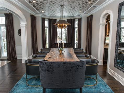 dining space featuring eclectic teal green dining chairs modern gray home remodel vanessa deleon hgtv