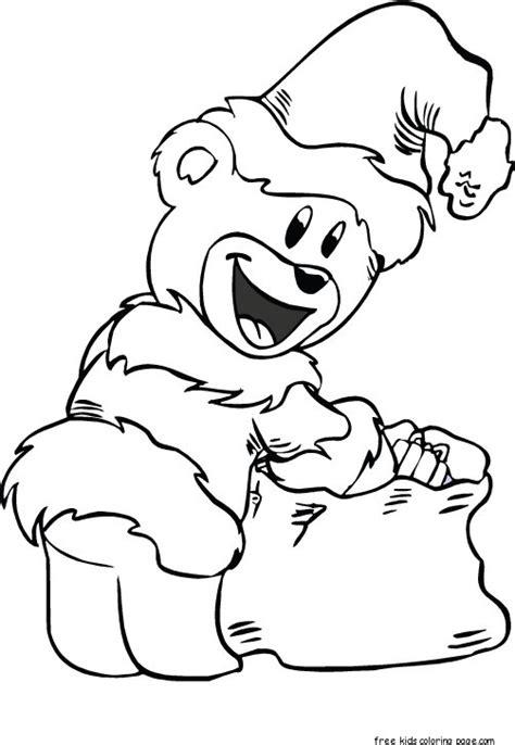 santa bear coloring page christmas santa bear coloring print out free printable
