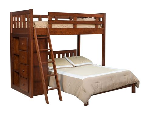 amish bunk beds kids bunk bed with bookcase from dutchcrafters amish furniture