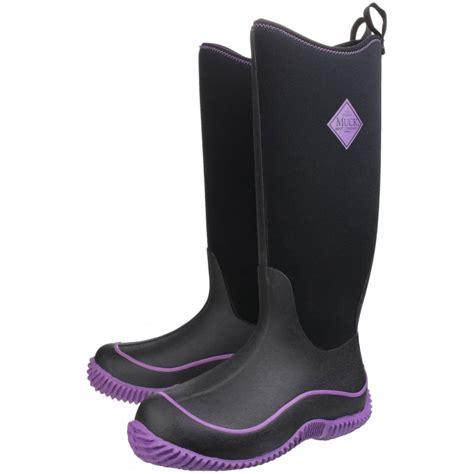 hale womens pull on wellington boot black purple black