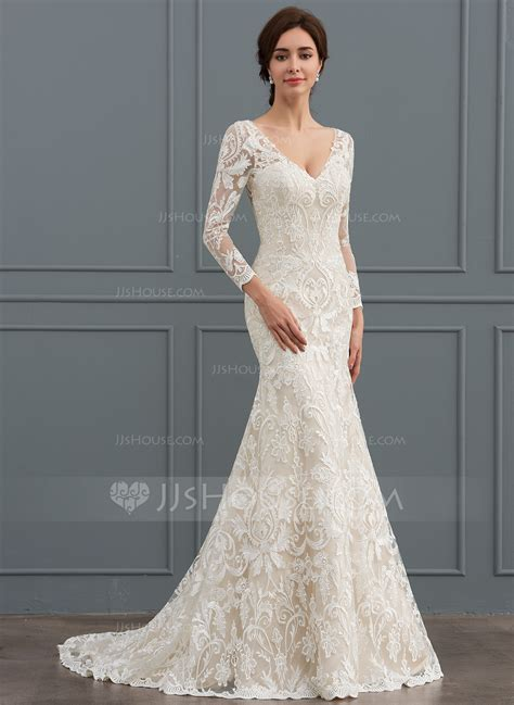 Wedding Hair For V Neck Dress by Trumpet Mermaid V Neck Sweep Lace Wedding Dress