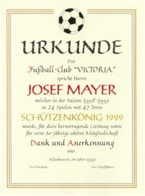 Muster Einladung Fußballturnier Urkunden Atelier Fuchs Hesse Handverziert