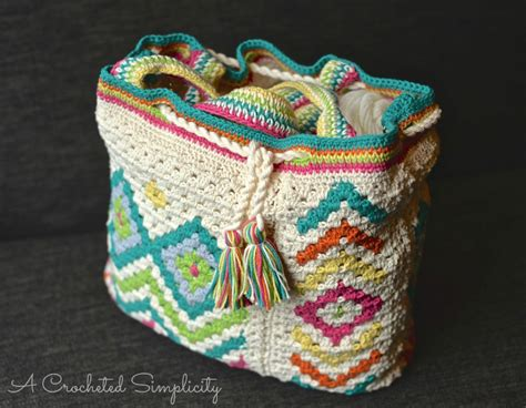hippie tote bag pattern new crochet pattern release quot boho chic quot mosaic tote bag