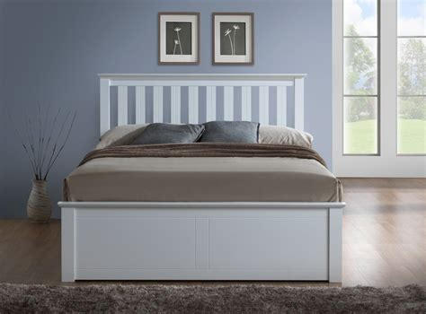 white wooden ottoman storage bed