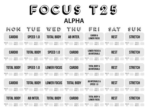 T25 Alpha Calendar 68 Best Images About Health Fitness On