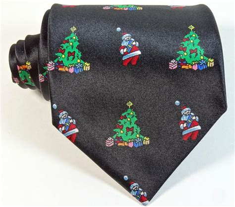 cheap christmas tie holiday black tree santa claus xmas