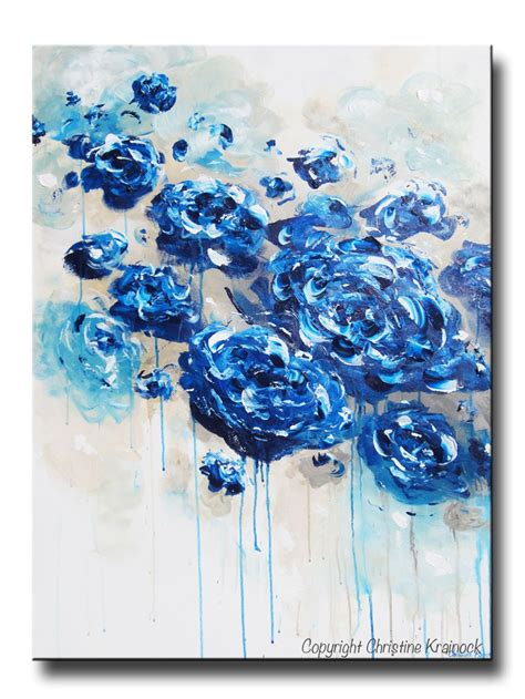 original art wall decor home decor modern art european art original art abstract navy blue floral painting flowers