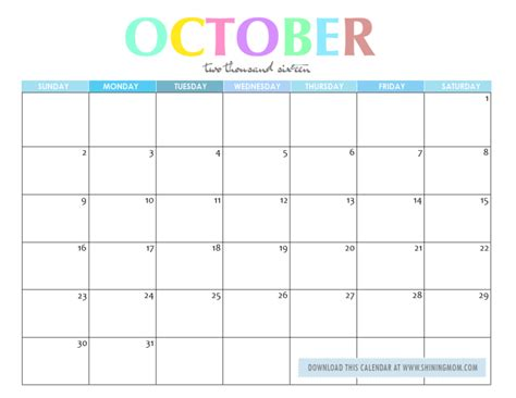 8 best images of printable calendar october 2015 march