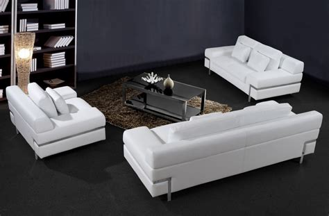 Modern Set by Modern White Leather Sofa Set