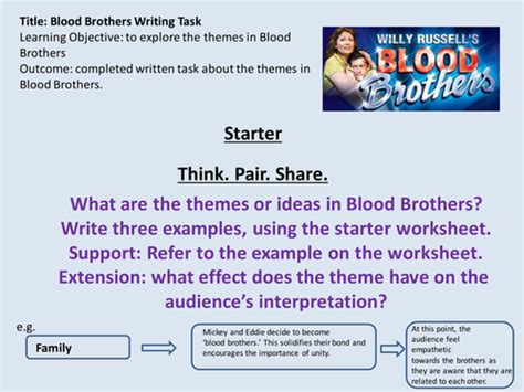 themes and quotes in blood brothers blood brothers revision of themes lesson by uk teaching