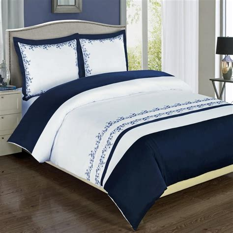 buy modern navy blue white embroidered cotton bedding