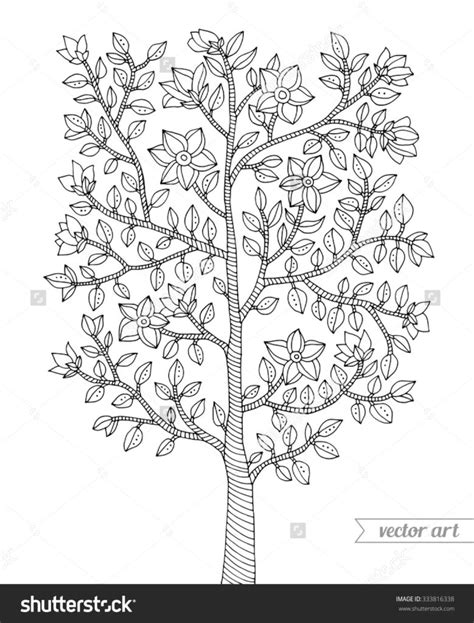 coloring pages forest tree bush flowers blossom branch