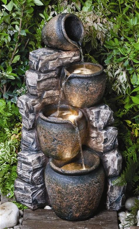 slate wall pots oil jar water feature  halogen lights
