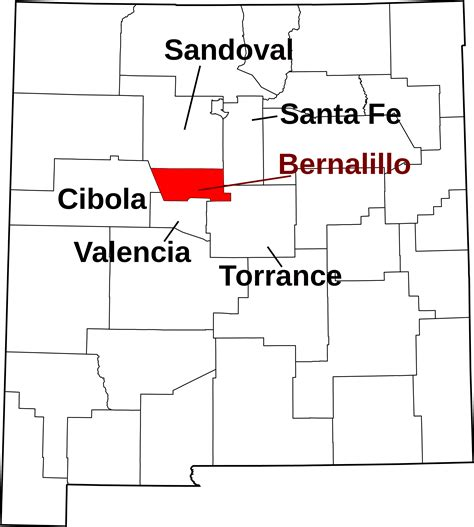 Bernalillo County Search File Map Of New Mexico Highlighting Bernalillo County Svg Facts For Kidzsearch