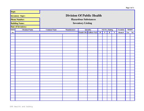 editable chemical inventory list template sle v m d com