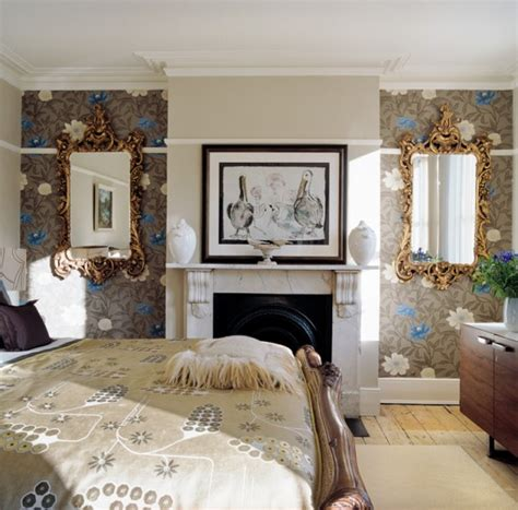 Alcove Ideas Bedroom by Morris Rugs Chrysanthemum China Blue Bold Wallpaper And