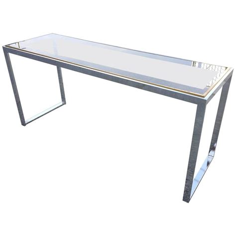 Glass And Chrome Console Table Chrome And Glass Console Table At 1stdibs