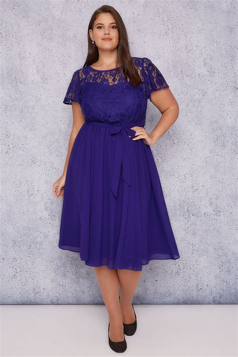 jo blue midi dress with lace top pleated